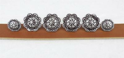 "Set of 6_JEREMIAH WATT_Saddle Trim WESTERN CONCHO_Wood Screw Back_4_1.50"" & 2_1"""