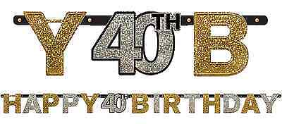 Sparkling Celebration Prismatic 40th Birthday Letter Banner Fortieth 40 Party 7