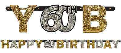 Sparkling Celebration Prismatic 60th Happy Birthday Letter Banner Party - 60th Birthday Supplies