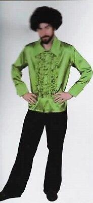 Green Disco Shirt Adult Costume 1970s Groovy Funky Pimp sizes S, M, L, XL