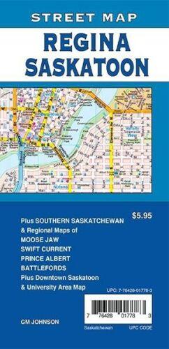 Street Map of Regina, Saskatoon, Saskatchewan, Moose Jaw, Canada, by GMJ Maps