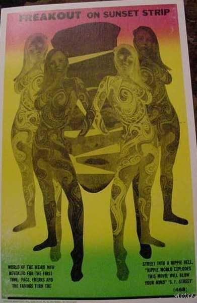 VINTAGE SUNSET STRIP PSYCHEDELIC POSTER nude woman hippies freaks 60s LA art art