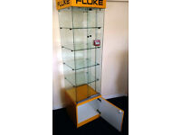 Quality built, lockable retail glass display cabinet with light