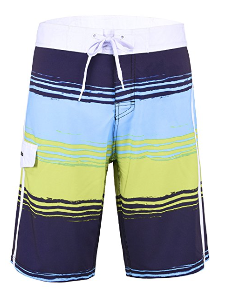 Mens 38 Swim Shorts Beach Board Swimwear Blue Yellow Stripe