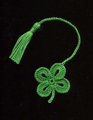 Handmade Crochet Bookmark 4 Leaf Clover Shamrock St  Patricks Day  Bookmarks
