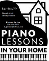 Piano/ Music Theory Lessons in Your Home! $40/Hr