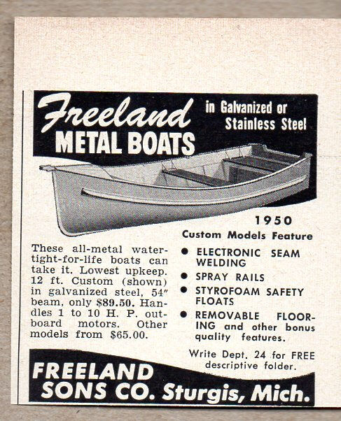 1950 Vintage Ad Freeland Metal Boats Galvanized or Stainless