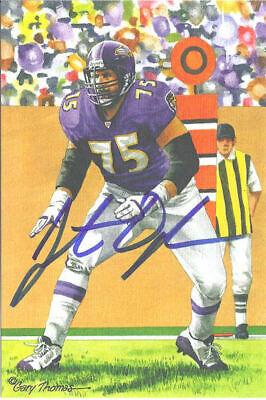Jonathan Ogden Autographed/Signed Baltimore Ravens Goal Line Art Blue 12628 Baltimore Ravens Goal Line