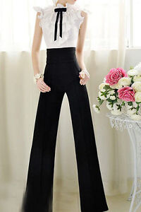 Vintage Womens Career Slim High Waist Flare Wide Leg Long Pants Palazzo Trousers