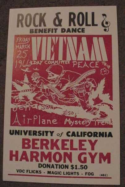 1966 VIETNAM POSTER JEFFERSON AIRPLANE 60s anti war art BERKELEY CALIFORNIA NR