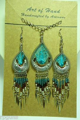 Dreamcatcher Woven Earrings And Necklace Sets 10 Colors. You Choose Pink Blue