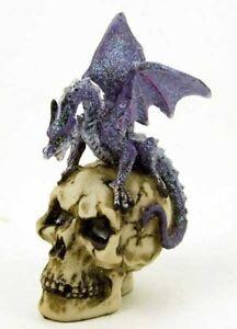 Dragon Ornament On Skull Skeleton Purple Statue Figure BARGAIN PRICE 10.5cm NEW