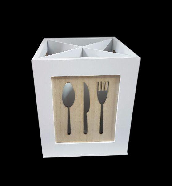 Porta Posate Portaposate In Legno Cucina Country Chic Design Arredo dfh