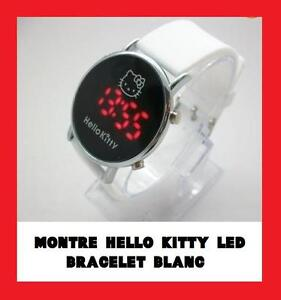 HELLO KITTY MONTRE BRACELET CUIR LUXE LED BLANCHE NEUVE FILLE FEMME