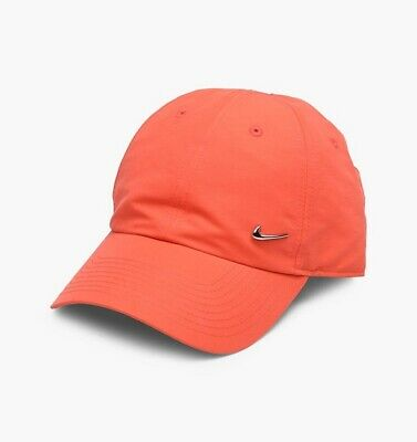 Nike Mens Womens Baseball Cap Metal Swoosh Hats Orange