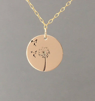 Gold Fill Dandelion Circle Disc Pendant Charm Necklace also in Rose Gold Silver