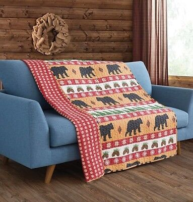 Bear Quilted Throw Lodge Life Nature Preserve Pines Woods Wilderness (Natural Wood Pine Bed)