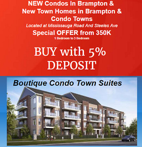 NEW Condos In Brampton &  New Town Homes BUY with 5%  DEPOSIT