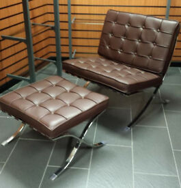 Barcelona lounge chair and ottoman set