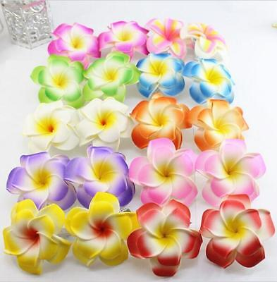 50 large assorted color double layer Foam Hawaiian Plumeria flower hair clips - Hawaiian Hair Clips