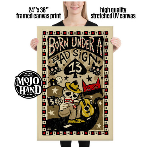 """Huge Blues framed Canvas print - Born Under a Bad Sign - 24""""x 36"""" - great gift!"""