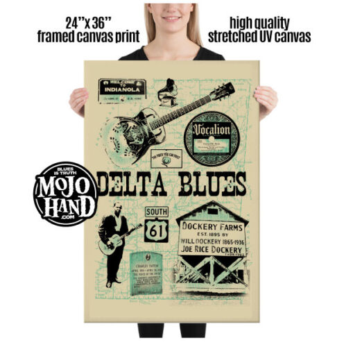 """Huge Blues framed Canvas print - Delta Blues - 24""""x 36"""" and ready to hang"""