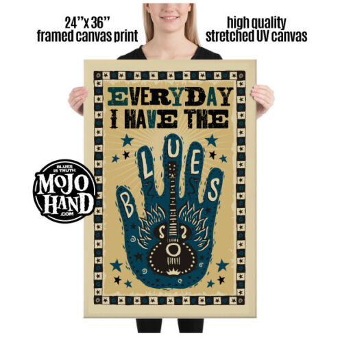 """Huge Blues framed Canvas print - Everyday I have the Blues - 24""""x 36"""""""