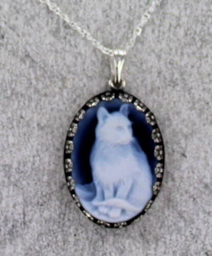 Agate Cat Cameo  in Sterling Silver Necklace  Setting with Chain
