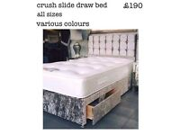 Lovely crushed velvet beds,doubles and singles also available in leather,fitted draws,from £190 down