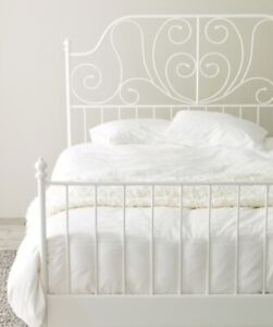 White metal double bed