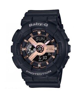 Casio BABY-G BA110RG-1A Tandem Series Women's Black Pink Analog-Digital Watch