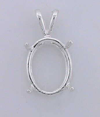 14x12 14mm x 12mm Oval Wire Gemstone Pendant Sterling Silver Prenotched (Oval Wire Pendant Mounting)