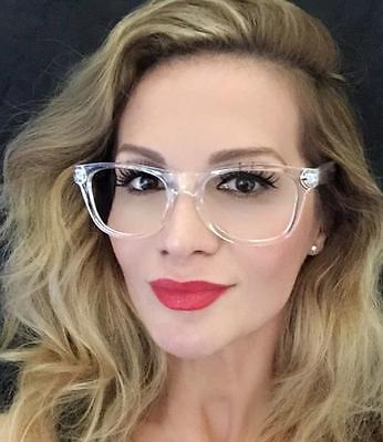 White Crystal Clear Translucent Square Celebrity Diva Frames Eye Glasses 8759 (Ladies Glass Frames)