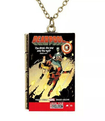 New Miniature Cartoon Book Cover Deadpool Fighting TINY Book Pendant Necklace