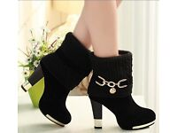 Winter wool women thick with high heel suede boots red&black