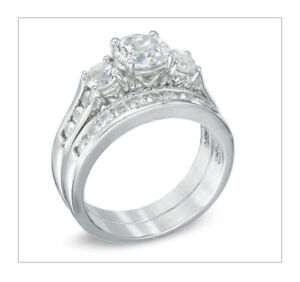 **White Sapphire Three Stone Ring Set in Sterling Silver**
