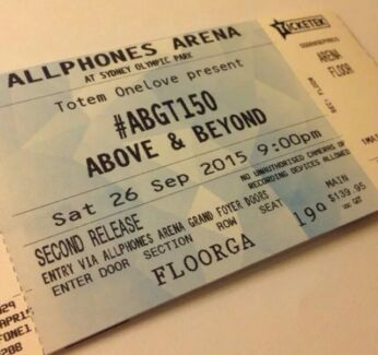 ABGT150 above and beyond sydney HARDCOPY GA STANDING TICKET Campsie Canterbury Area Preview