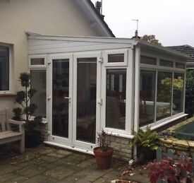 White UPVC Conservatory with Sanderson roof & windows blinds