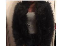 Black faux fur jacket uk size 10-12