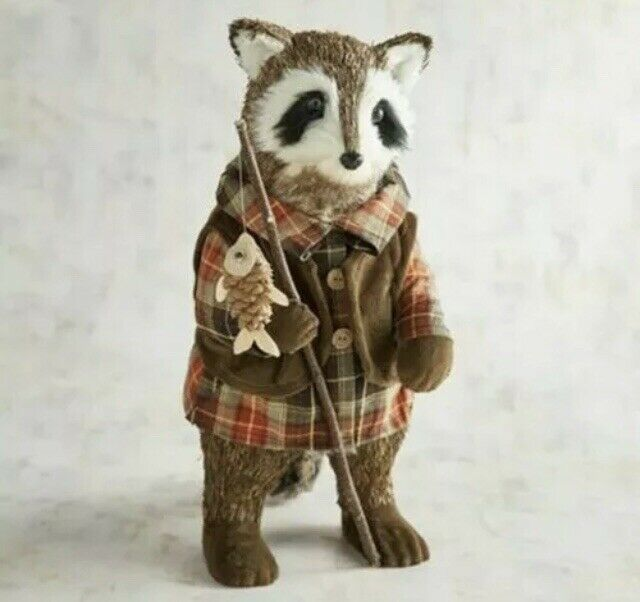 Pier 1 Imports Natural Sisal Chinook Fishing Raccoon Figurine Fall Autumn