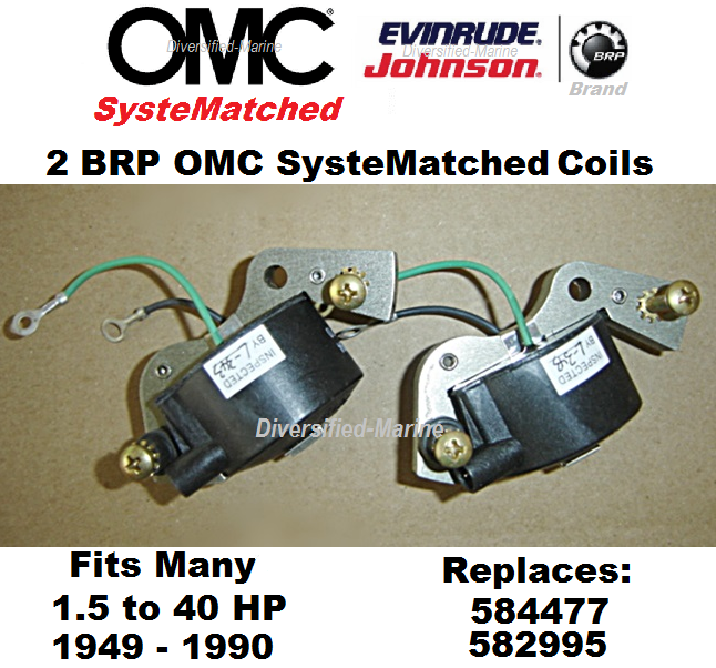 2 Johnson Evinrude Ignition Coils 1.5 - 40 HP 584477 BRP OMC SysteMatched Coil