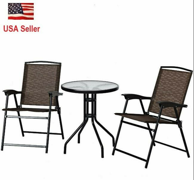 Garden Furniture - 3 Piece Patio Set Bistro Table Chairs Outdoor Garden Furniture Set Folding Chair