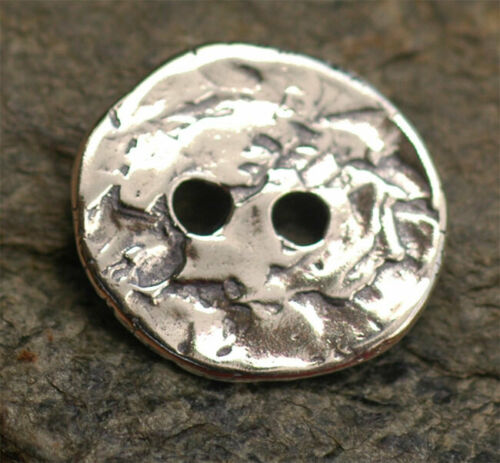 Two-Hole Button in Sterling Silver, Artisan Jewelry Buttons, (ONE) B-153