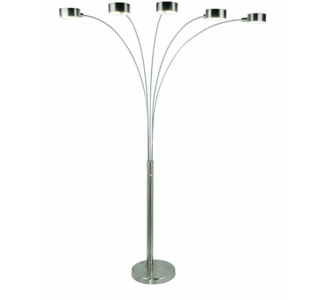 micah modern arched 88 in brushed steel