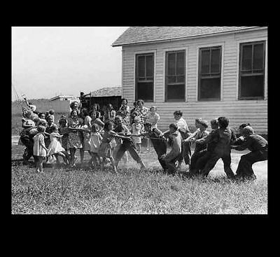 1938 Rural Missouri School Children Tug-of-War PHOTO, Great Depression Farm Kids