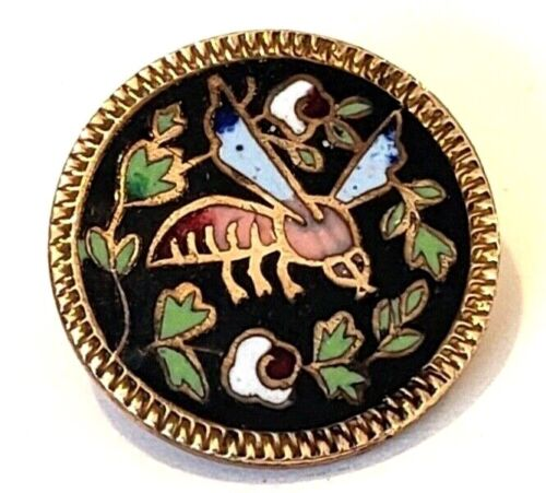 Antique Enamel Insect Button…Bee