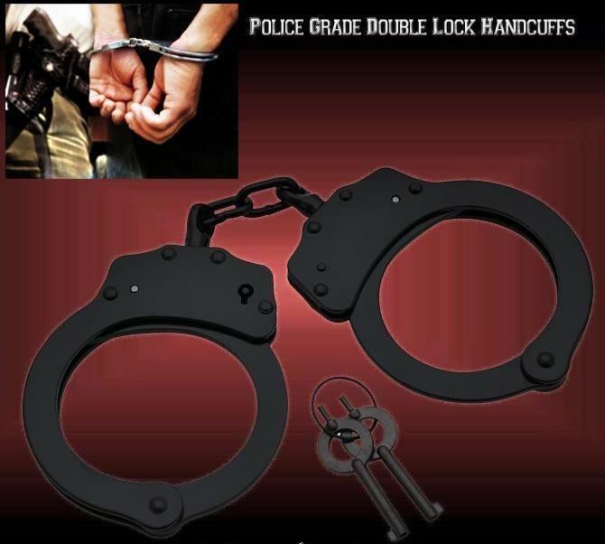 Black STEEL HAND Handcuffs POLICE CUFFS NEW Double Locking REAL DEAL w 2 KEYS