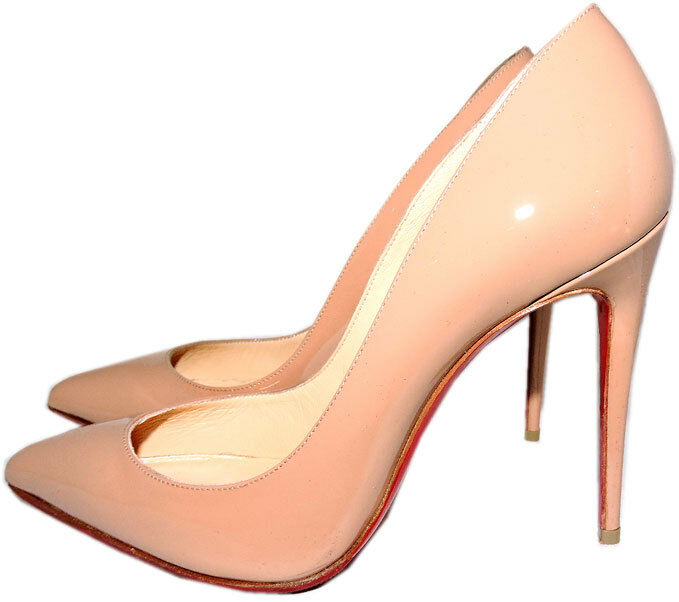 Christian Louboutin Pumps Nude Patent Leather Pigalle Pointed Toe Shoes 375