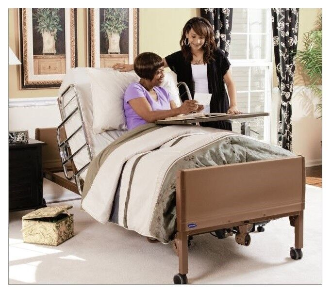 Full Electric Hospital Bed Package, Innerspring Mattress + Half Rails