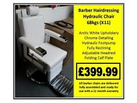 X11 Barber Hairdressing Hydraulic Chair in Black or White £399.99
